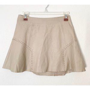Zara Trafaluc XS Beige Genuine Leather Mini Skirt